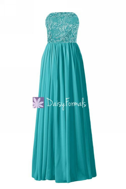 Long Turquoise Lace Strapless Party Dress Cyan Lace Bridesmaids Dress (BM1340L)