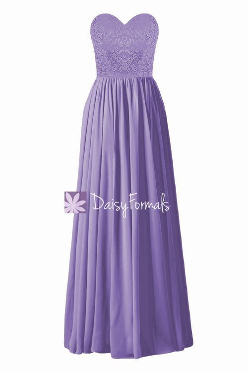 Stunning Pale Purple Party Dress Long Sweetheart Lace Bridesmaids Dress (BM1341L)