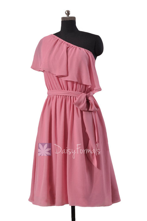 Mute pink one shoulder latest chiffon bridesmaid dress asymmetric rose party dress (bm1362)