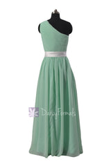 One Shoulder Mint Green Bridesmaid Dress Chiffon Party Dress W/Fabric Flowers(BM140211)