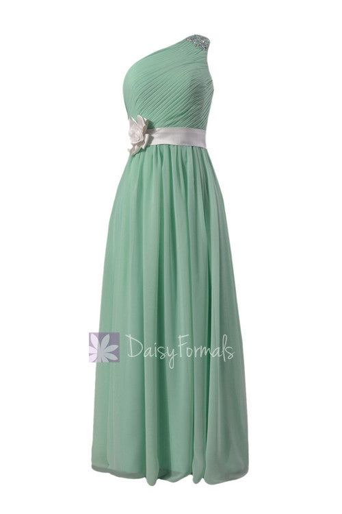 One shoulder mint green formal bridesmaid dress chiffon party dress w/fabric flowers(bm140211)