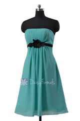 Pretty turquoise a-line chiffon bridesmaid dress tiffany blue sweetheart prom dresses(bm141)