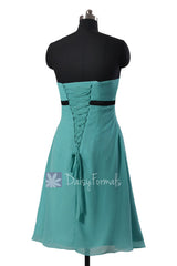 Pretty Turquoise A-line Chiffon Bridesmaid Dress Tiffany Blue Sweetheart Prom Dress(BM141)