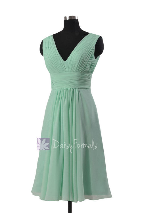 Short mint affordable bridesmaid dress w/ deep v-neck chiffon wedding party dress (bm1422a)