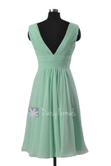 Short mint affordable bridesmaid dress w/ deep v-neck chiffon wedding party dresses (bm1422a)