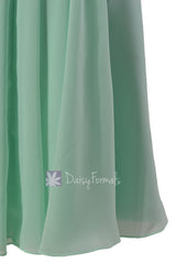 Short Mint Bridesmaid Dress W/ Deep V-Neck Chiffon Wedding Party Dress (BM1422A)