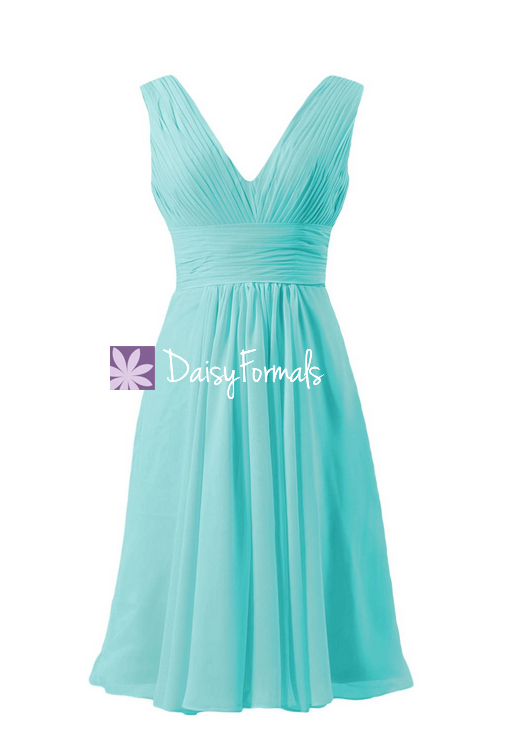 Crisp tiffany blue elegant formal dress deep v-neckline women party dress (bm1422a)