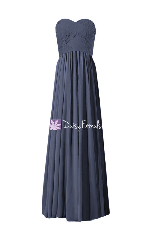 Beautiful navy chiffon party dress long sweetheart bridesmaids dress formal dress (bm1426l)