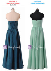 Beautiful navy chiffon party dress long sweetheart bridesmaids dress formal dresses (bm1426l)