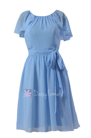 Beautiful Cornflower Chiffon Bridesmaid Dress Short Formal Dress W/Flutter Sleeves(BM1462)