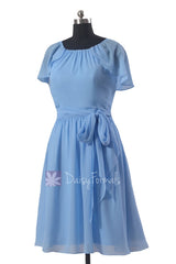 Beautiful cornflower chiffon bridesmaid dress short formal dresses w/flutter sleeves(bm1462)