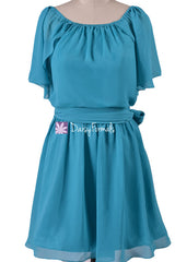 Rich teal discount bridesmaids dress short knee length party dresses (bm1462)