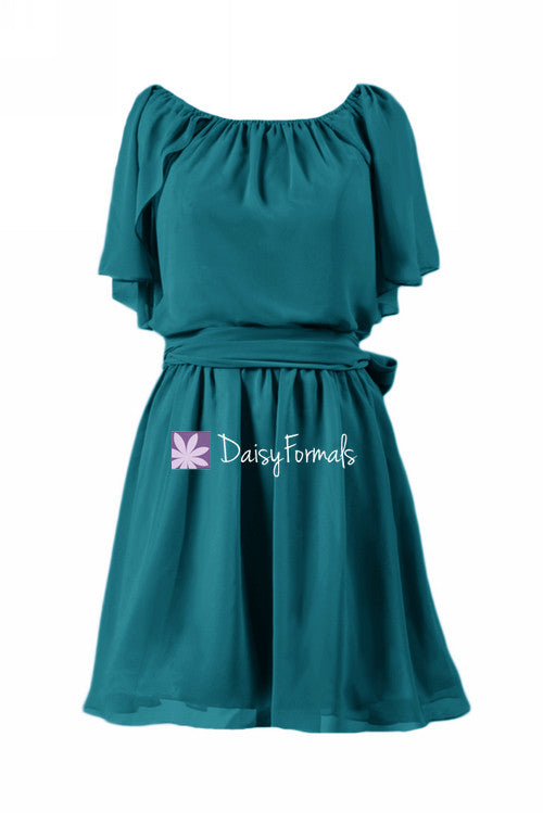 Rich teal discount bridesmaids dress short knee length party dress (bm1462)