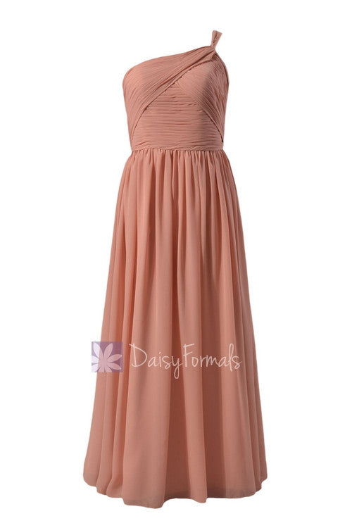 Elegant floor length zinnwaldite chiffon party dress one shoulder beach wedding party dress(bm1531b)