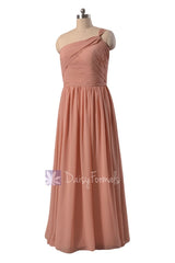 Elegant floor length zinnwaldite chiffon party dress one shoulder beach wedding party dresses(bm1531b)