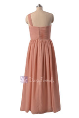 Elegant Floor Length Zinnwaldite Chiffon Party Dress One Shoulder Beach Wedding Dress(BM1531B)
