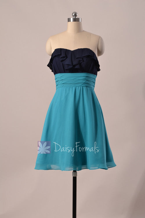 Sweetheart chiffon dress navy mini length elegant bridal party formal dress(bm1549)