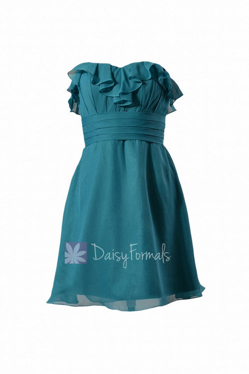 Turquoise chiffon party dress strapless beach wedding bridesmaid dress (bm1549sd)
