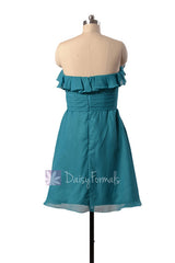 Turquoise chiffon party dress strapless beach wedding bridesmaid dresses (bm1549sd)