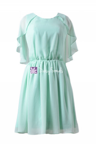 Classic Mint Chiffon Party Dress Short Mint Green Bridesmaids Dress (BM1552)
