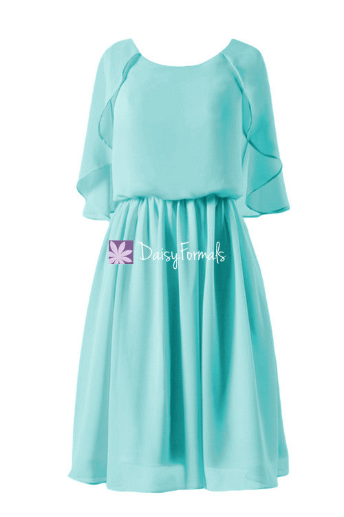 Aqua blue chiffon beach wedding dress scoop neckline party dress (bm1552)