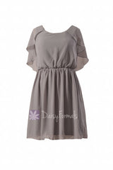 Scoop neckline unique chiffon bridesmaid dress vintage short gray party dress (bm1552)