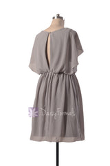 Scoop neckline unique chiffon bridesmaid dress vintage short gray party dresses (bm1552)