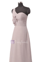 Light gray bridal party dress long one shoulder elegant chiffon evening dresses(bm1622)