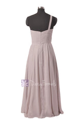 Light Gray Bridal Party Dress Long One Shoulder Chiffon Evening Dress(BM1622)