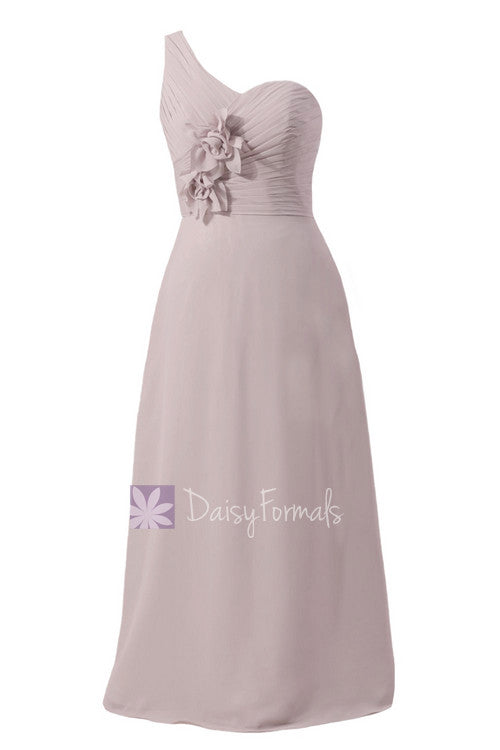 Light gray bridal party dress long one shoulder elegant chiffon evening dress(bm1622)