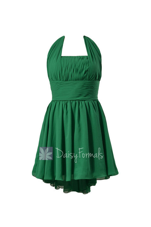 Green chiffon bridesmaid dress halter mini skirt beach wedding party dress(bm1640)