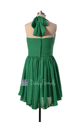 Green chiffon bridesmaid dress halter mini skirt beach wedding party dresses(bm1640)