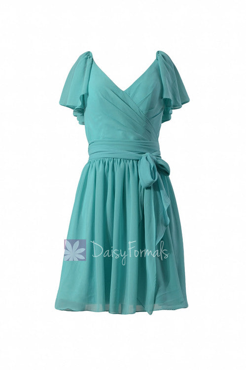 Vintage inspired party dress tiffany blue chiffon online bridesmaid dress(bm1662)
