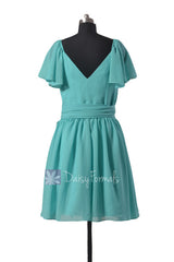 Vintage Inspired Party Dress Tiffany Blue Chiffon Bridesmaid Dress(BM1662)