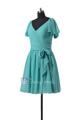 Vintage inspired party dress tiffany blue chiffon online bridesmaid dresses(bm1662)