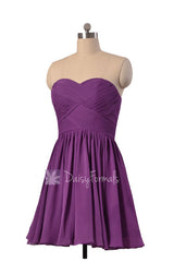 Deep lilac beach wedding party dress sweetheart mini skirt inexpensive bridesmaid dresses(bm1426b)