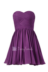 Deep lilac beach wedding party dress sweetheart mini skirt inexpensive bridesmaid dress(bm1426b)
