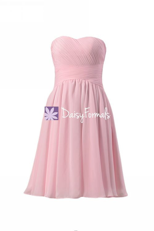 Light pink strapless bridal party dress online sweetheart chiffon dress handmade (bm182)