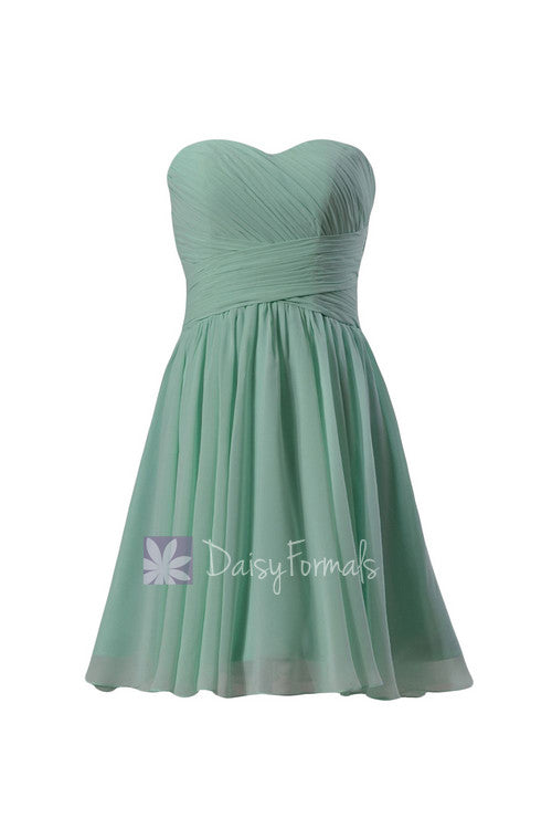 Mint sweatheart knee length affordable bridesmaid dress short mint green formal party dress(bm182)