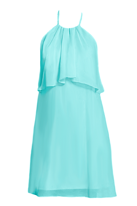 Light Aqua Halter Neckline Formal Dress Beach Wedding Party Dress Summer Dress (BM1990)