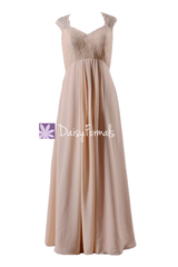Peach apricot long chiffon party dress elegant lace bridesmaids dresses(bm2222a)