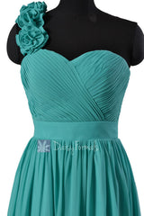 Cyan knee length unique bridesmaid dress chiffon one shoulder homecoming dresses(bm102)