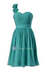 Cyan knee length unique bridesmaid dress chiffon one shoulder homecoming dress(bm102)