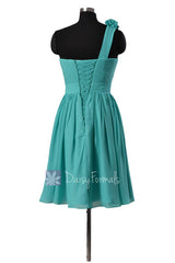 Cyan Knee Length Bridesmaid Dress Chiffon One Shoulder Homecoming Dress(BM102)