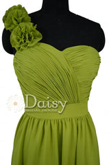 Short bright olive chiffon dress one-shoulder cheap bridesmaid dresses w/fabric flowers(bm223)