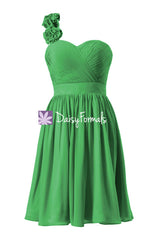 Green one shoulder latest bridesmaid dress fresh green cocktail dress party gown(bm223)