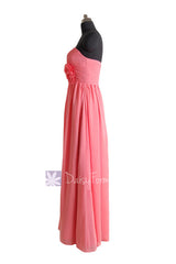 Light coral long sweetheart chiffon evening dress long coral bridesmaid dresses(bm224)