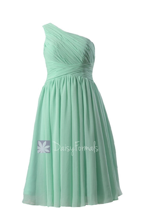 Empire One Shoulder Aaffordable Mint Chiffon Bridesmaid Dress For ...