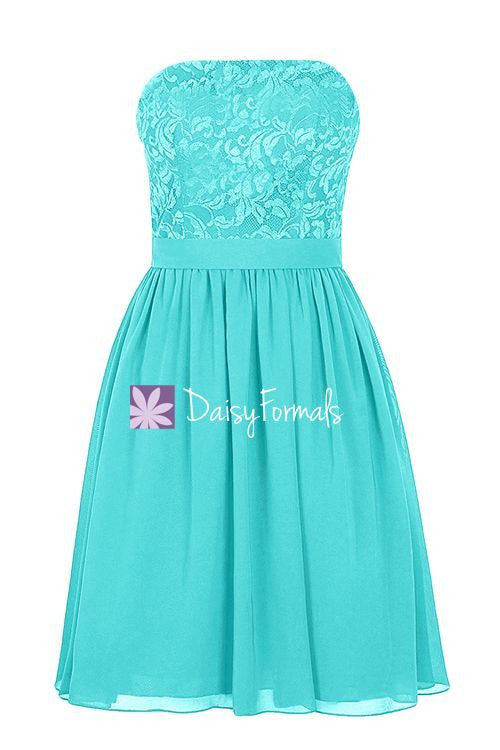 Lace Strapless Party Dress Short Aqua Blue Lace Bridesmaids Dress (BM2340)
