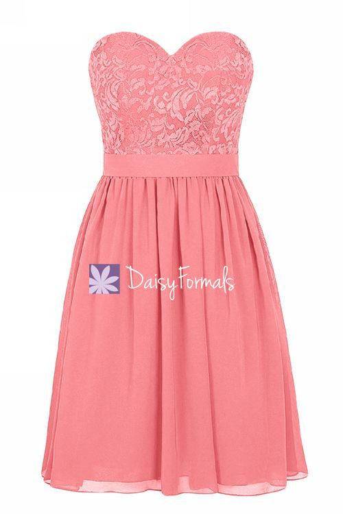 Lovely Light Coral Party Dress Short Sweetheart Lace Bridesmaids Dress (BM2341)